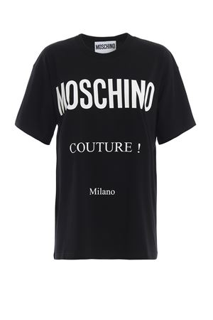 T-shirt nera con stampa logo lettering 07090540A2555 MOSCHINO | 8 | 07090540A2555