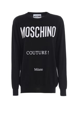 Logo intarsia black cotton sweater