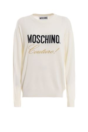 Logo intarsia off white wool sweater 