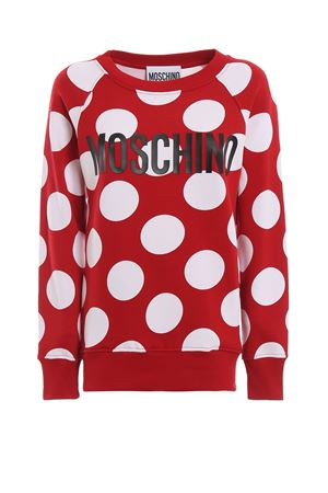 Polka-dot red cotton jersey long sweatshirt  MOSCHINO | -108764232 | 17130527A4115