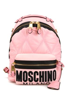Pink diamond quilted nylon backpack 