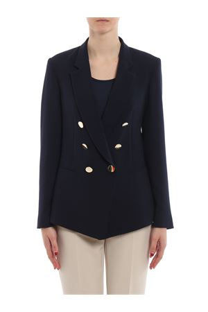 Crepe cady dark blue double-breasted blazer