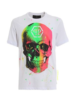 Skull paint effect white T-shirt PHILIPP PLEIN | 8 | P19CMTK3305PJY002N01