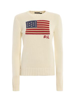 American flag intarsia white crewneck POLO RALPH LAUREN | -108764232 | 211662510002