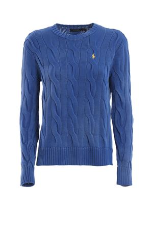 Cable knit melange blue cotton sweater POLO RALPH LAUREN | -108764232 | 211706244008