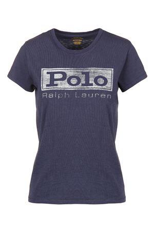 T-shirt scollo tondo serigrafata e ricamata in cotone Blu 211718198004 POLO RALPH LAUREN | 7 | 211718198004