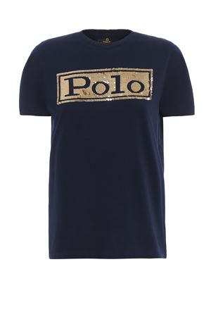 T-shirt in cotone blu scuro con paillettes 211732286002 POLO RALPH LAUREN | 7 | 211732286002