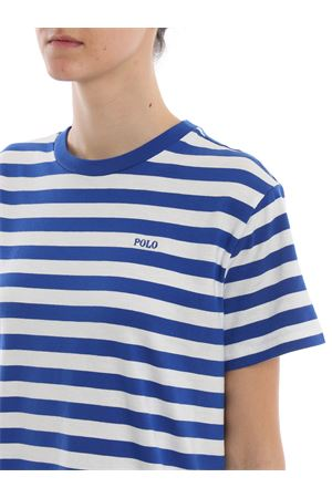 Striped logo embroidery cotton dress