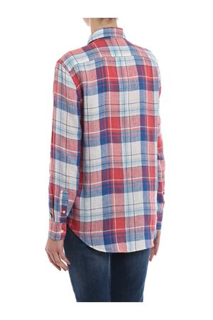 Two-tone check linen shirt