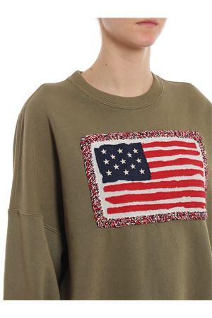 Felpa in cotone con bandiera americana 211744523001<BR/>