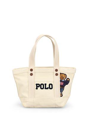 Mini shopper in cotone con Teddy Bear 428746183001 POLO RALPH LAUREN | 5032265 | 428746183001