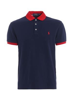 Contrasting detail polo shirt in pique cotton