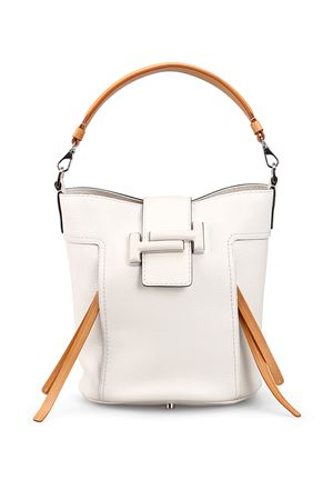 Double T white leather bucket bag 