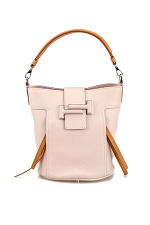 Double T hammered leather bucket bag 