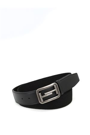 Leather and elasticated fabric belt
