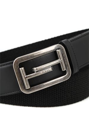 Leather and elasticated fabric belt TOD