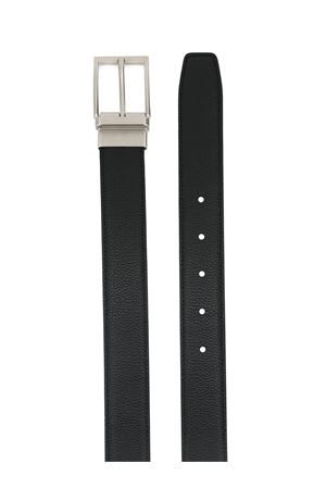 Logo detail black leather belt