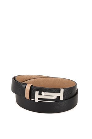 Double T hammered leather reversible belt TOD