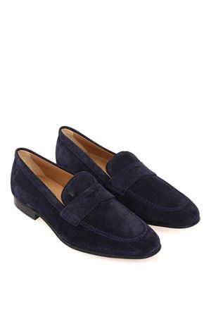 Dark blue suede loafers TOD