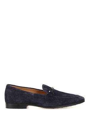 Double T deep blue suede loafers 