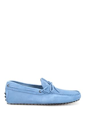 Sky blue suede loafers with laces 