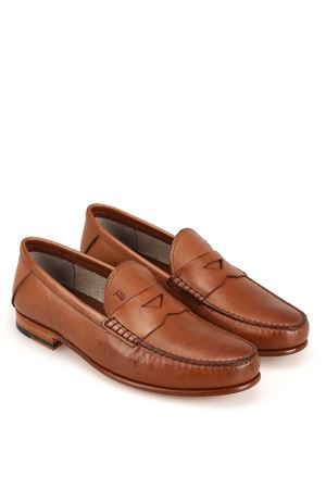 BROWN LEATHER LOAFERS WITH MASK TOD