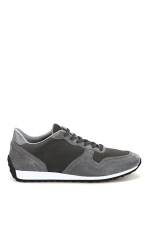 Grey suede and technical fabric sneakers TOD