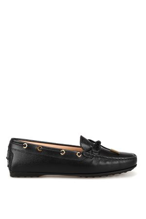 Black textured leather loafers TOD