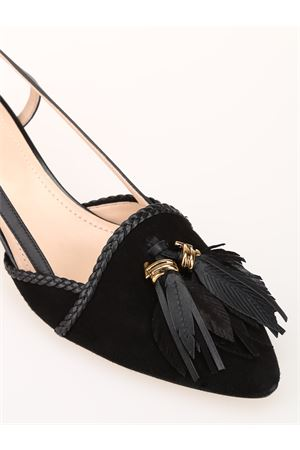 Black suede slingbacks with tassels