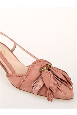 Suede slingbacks with tassels 