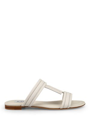 White hammered leather sandals TOD