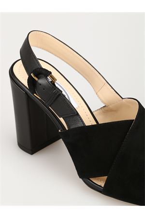 Black suede and leather sandals 