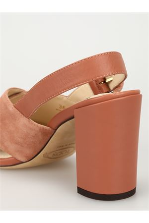 Suede and leather peep toe sandals