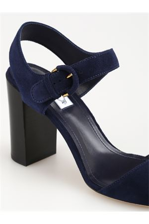 BLUE SUEDE SANDALS WITH WIDE HEEL TOD