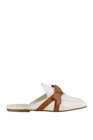 Bow detail white leather mules XXW79A0BF70GOCOUY7 TOD