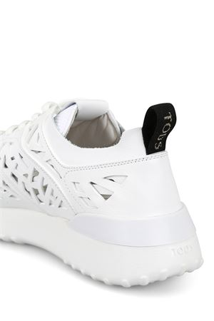 White laser cut leather sneakers  TOD