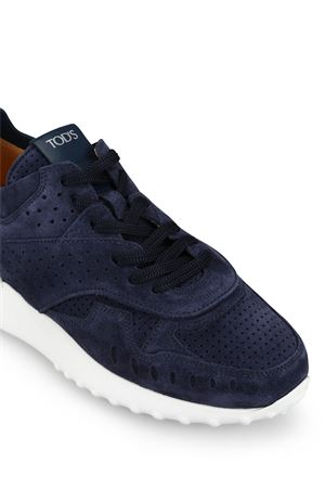Navy perforated suede running sneakers