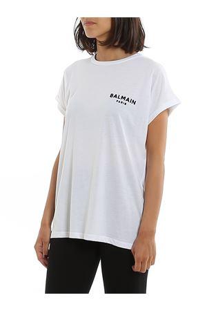 T-shirt bianca in cotone con logo Balmain floccato nero TF01351I382GAB BALMAIN | 8 | TF01351I382GAB