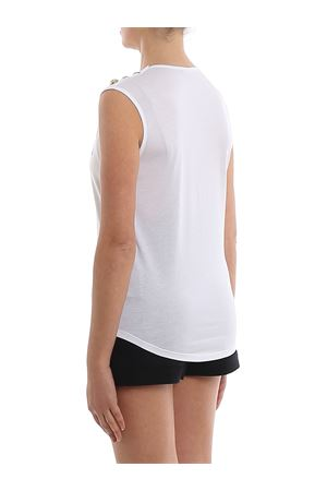 T-shirt in cotone bianco con bottoni e logo TF11000I386GAB BALMAIN | 8 | TF11000I386GAB