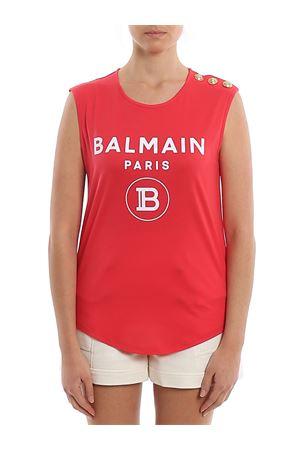 T-shirt in cotone rosso con bottoni e logo TF11000I386OAG BALMAIN | 8 | TF11000I386OAG