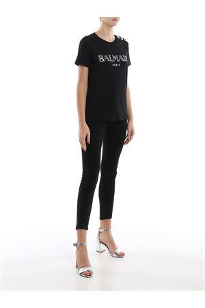 T-shirt in cotone nero con bottoni e logo TF11350I366EAC BALMAIN | 8 | TF11350I366EAC