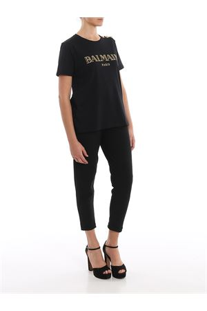 Cotton T-shirt with gold buttons and logo BALMAIN | 8 | TF11350I366EAD