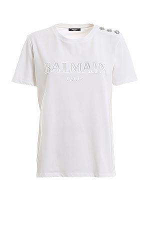 T-shirt in cotone bianco con bottoni e logo TF11350I366GAC BALMAIN | 8 | TF11350I366GAC