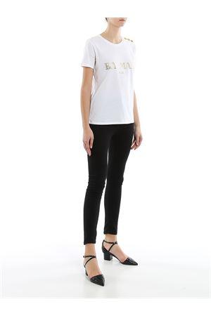 T-shirt in cotone bianco con bottoni e logo TF11350I366GAD BALMAIN | 8 | TF11350I366GAD