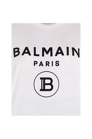 T-shirt in cotone con logo e bottoni dorati TF11350I386GAB BALMAIN | 8 | TF11350I386GAB