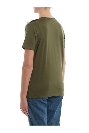Green cotton buttoned logo print T-shirt BALMAIN | 8 | TF11350I386UBK