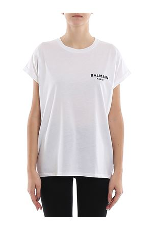 White cotton chest logo print T-shirt BALMAIN | 8 | TF11351I382GAB