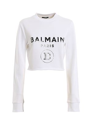 Felpa corta in cotone bianco con logo TF13641I384GAB BALMAIN | -108764232 | TF13641I384GAB