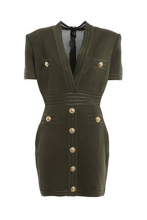 Gold-tone button knitted dress BALMAIN | 11 | TF16125K0437UA