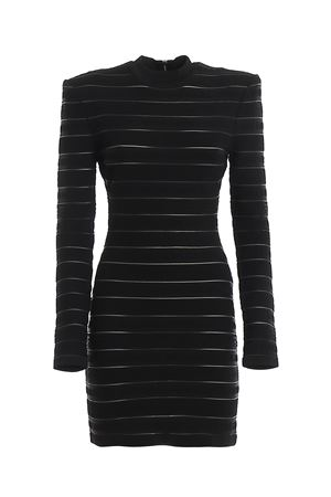 Logo stripe knitted dress BALMAIN | 11 | TF16202K0310PA